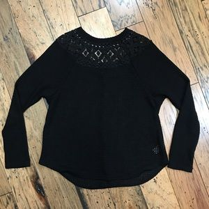 Maurices Black Waffle Weave Top S